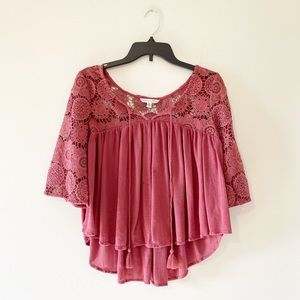 American Eagle Lacy Bell Sleeve Crop Top